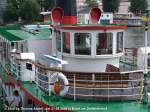 Basler Personenschiffahrt/11008/weitere-fotos-baslerdybli-1980---blick Weitere Fotos: 'BASLERDYBLI' (1980) - Blick aufs Oberdeck mit Steuerhaus