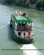 Basler Personenschiffahrt/11018/weitere-fotos-baslerdybli-1980---heckansicht Weitere Fotos: 'BASLERDYBLI' (1980) - Heckansicht von der Mittleren Rheinbrücke aus gesehen.